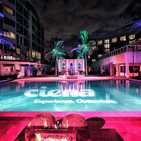 AOO Events produced a corporate branding event for Ciena poolside