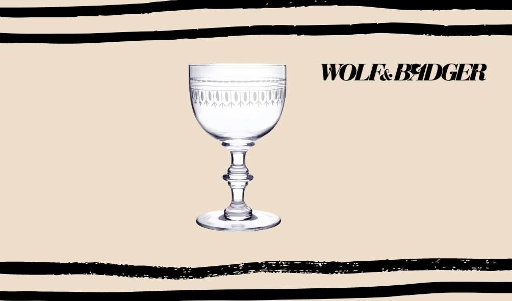 wolf and badger vintage glass